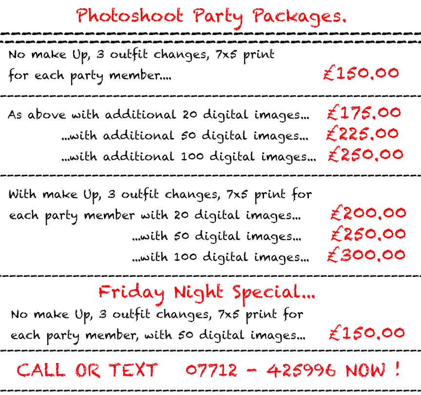 Photoshoot Party Leeds Packages and Prices